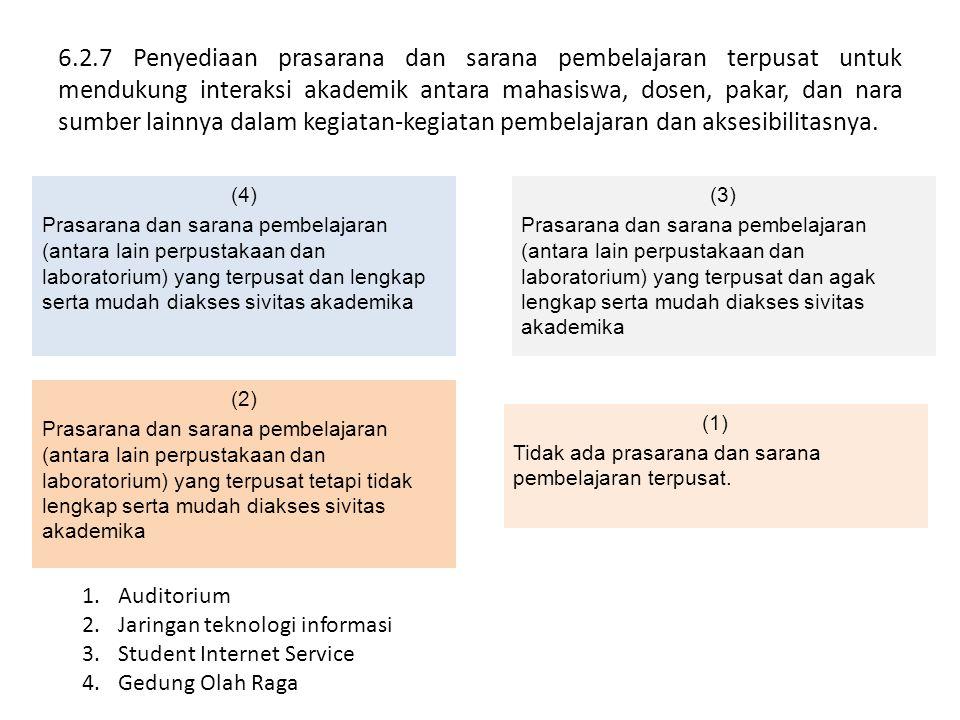 6.2.7 Penyediaan prasarana dan sarana pembelajaran terpusat untuk mendukung interaksi akademik antara mahasiswa, dosen, pakar, dan nara sumber lainnya