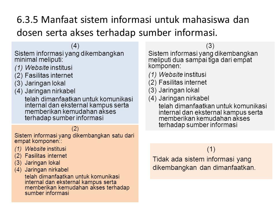6.3.5 Manfaat sistem informasi untuk mahasiswa dan dosen serta akses terhadap sumber informasi. (4) Sistem informasi yang dikembangkan minimal meliput
