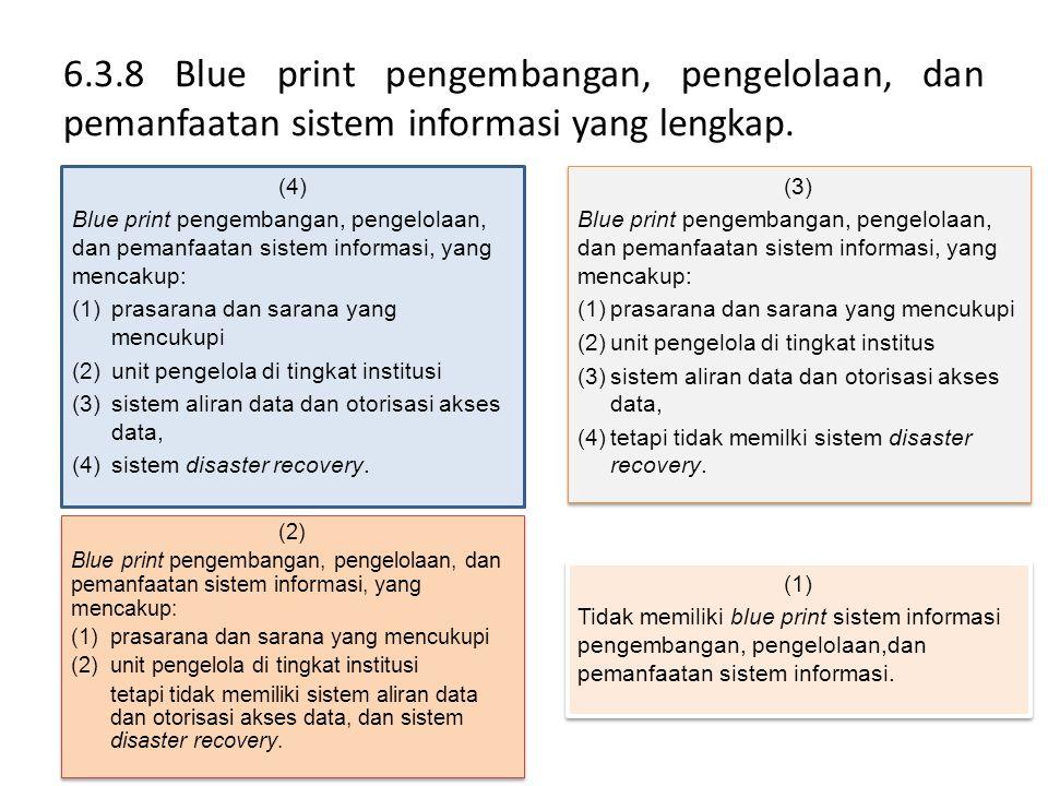 6.3.8 Blue print pengembangan, pengelolaan, dan pemanfaatan sistem informasi yang lengkap. (4) Blue print pengembangan, pengelolaan, dan pemanfaatan s