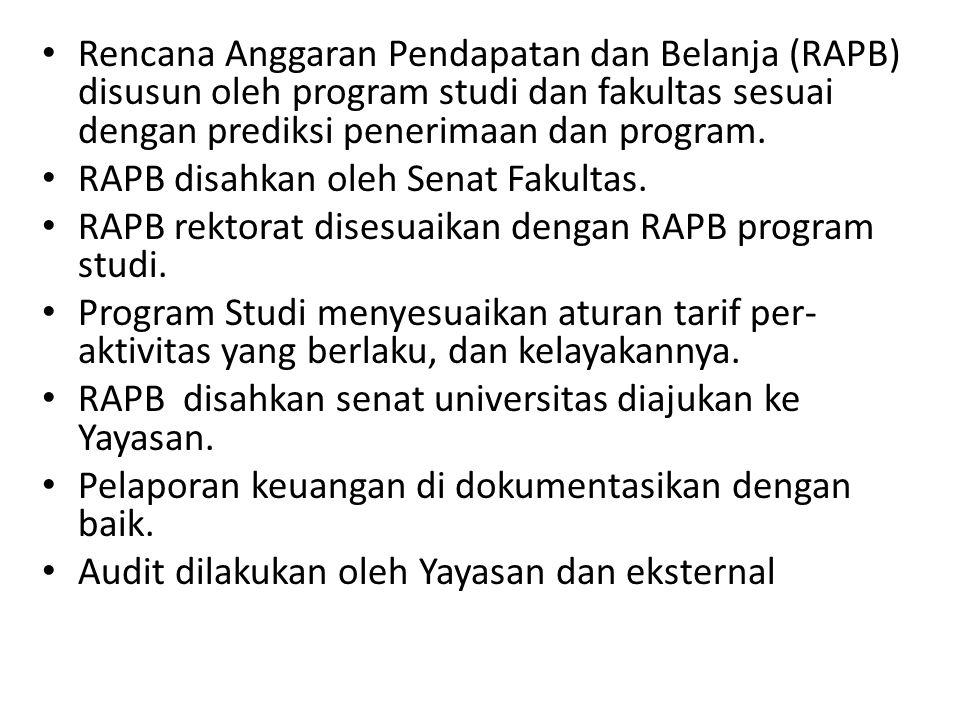 Rencana Anggaran Pendapatan dan Belanja (RAPB) disusun oleh program studi dan fakultas sesuai dengan prediksi penerimaan dan program. RAPB disahkan ol