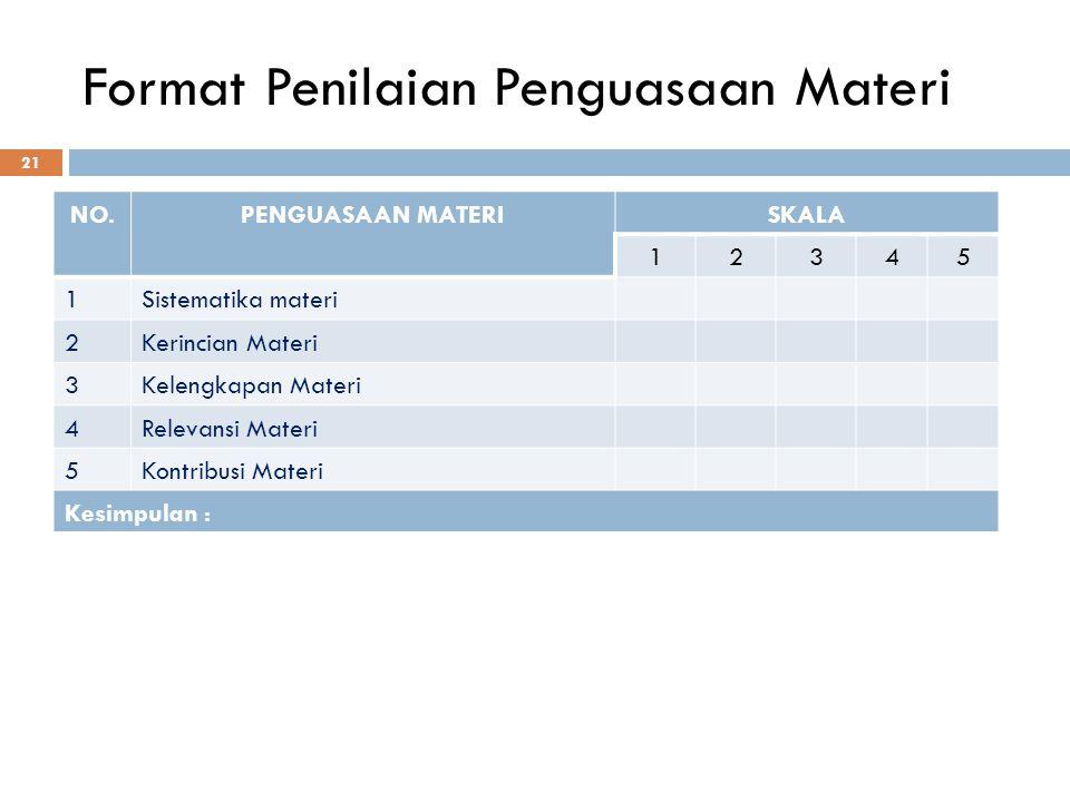 Format Penilaian Penguasaan Materi 21 NO.PENGUASAAN MATERISKALA 12345 1Sistematika materi 2Kerincian Materi 3Kelengkapan Materi 4Relevansi Materi 5Kon