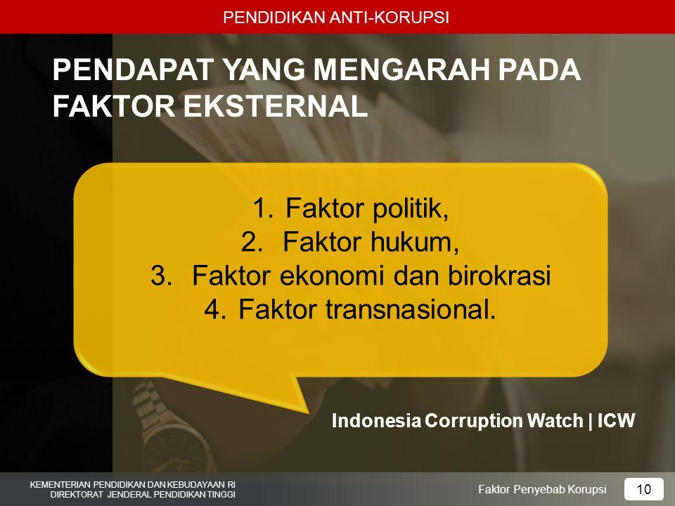 PENDIDIKAN ANTI-KORUPSI KEMENTERIAN PENDIDIKAN DAN KEBUDAYAAN RI DIREKTORAT JENDERAL PENDIDIKAN TINGGI 10 Faktor Penyebab Korupsi PENDAPAT YANG MENGARAH PADA FAKTOR EKSTERNAL 1.Faktor politik, 2.