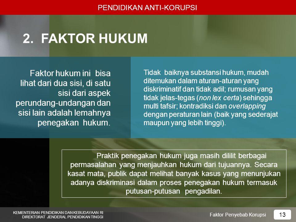PENDIDIKAN ANTI-KORUPSI KEMENTERIAN PENDIDIKAN DAN KEBUDAYAAN RI DIREKTORAT JENDERAL PENDIDIKAN TINGGI 14 Faktor Penyebab Korupsi 3.