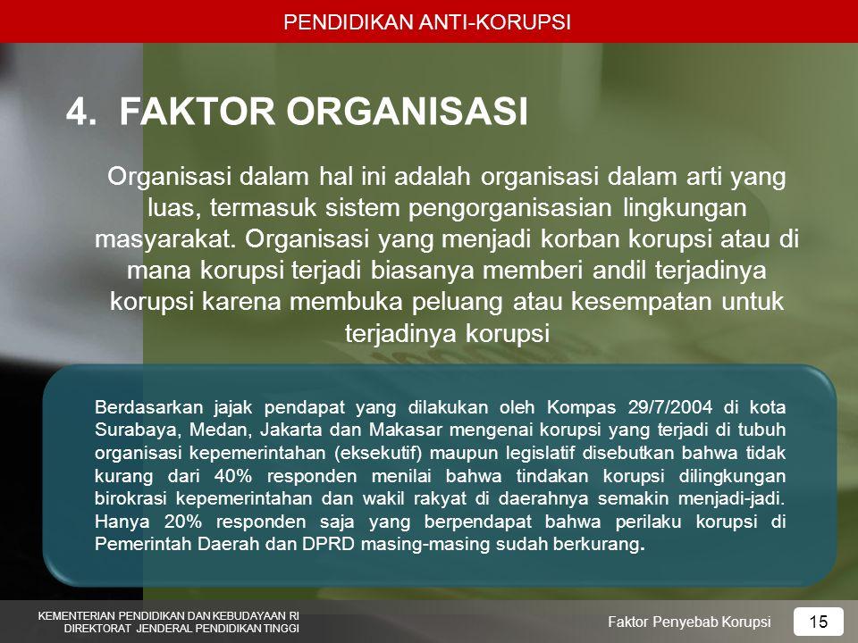 PENDIDIKAN ANTI-KORUPSI KEMENTERIAN PENDIDIKAN DAN KEBUDAYAAN RI DIREKTORAT JENDERAL PENDIDIKAN TINGGI 15 Faktor Penyebab Korupsi 4.