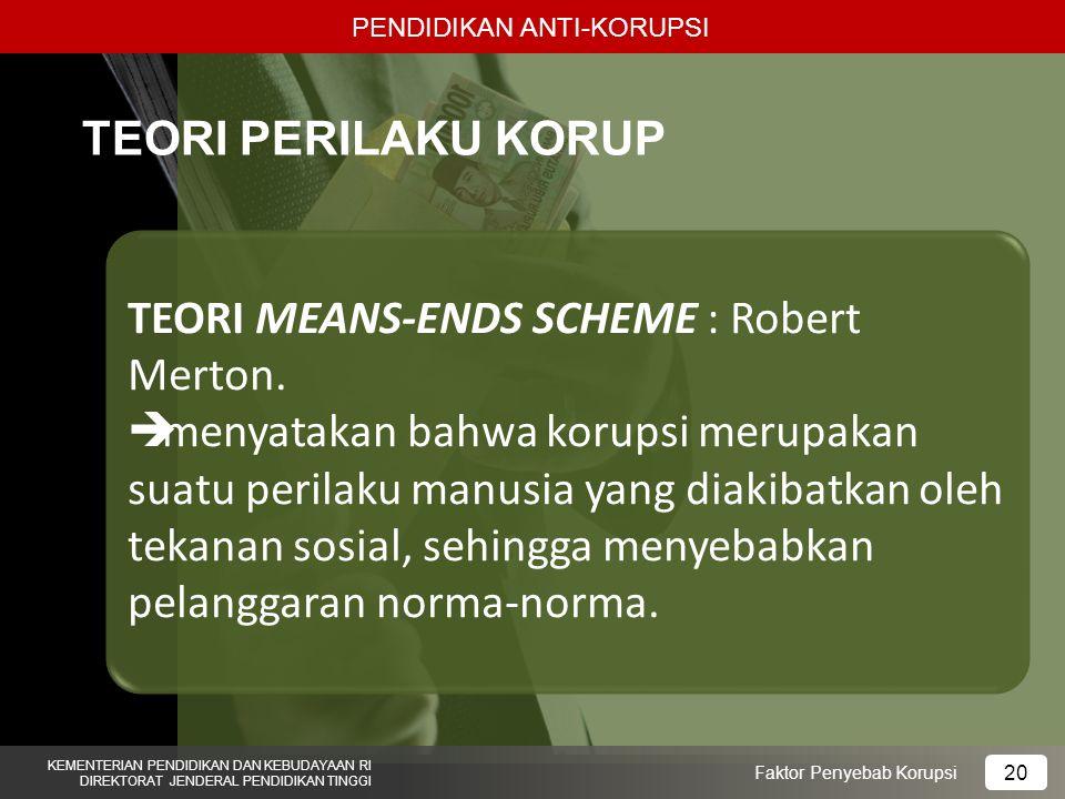 PENDIDIKAN ANTI-KORUPSI KEMENTERIAN PENDIDIKAN DAN KEBUDAYAAN RI DIREKTORAT JENDERAL PENDIDIKAN TINGGI 20 Faktor Penyebab Korupsi TEORI PERILAKU KORUP TEORI MEANS-ENDS SCHEME : Robert Merton.