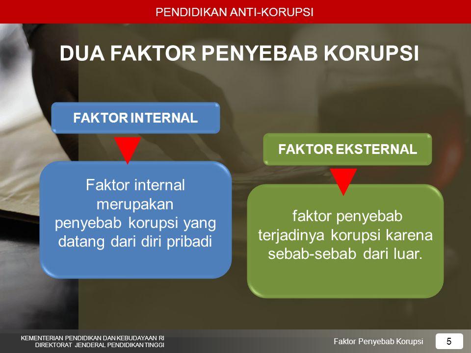 PENDIDIKAN ANTI-KORUPSI KEMENTERIAN PENDIDIKAN DAN KEBUDAYAAN RI DIREKTORAT JENDERAL PENDIDIKAN TINGGI 5 Faktor Penyebab Korupsi Faktor internal merupakan penyebab korupsi yang datang dari diri pribadi faktor penyebab terjadinya korupsi karena sebab-sebab dari luar.