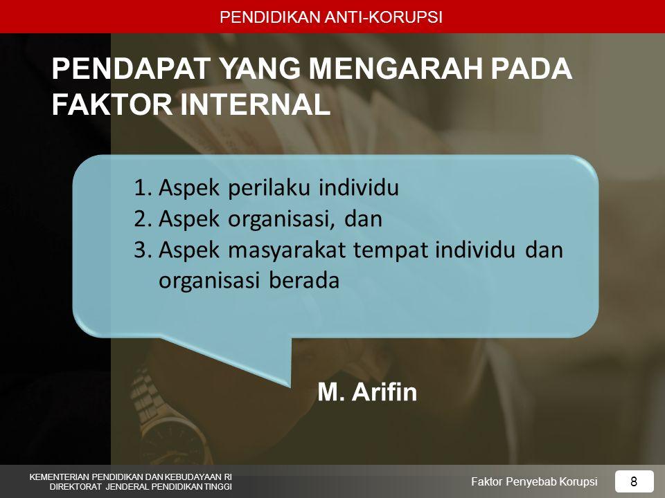 PENDIDIKAN ANTI-KORUPSI KEMENTERIAN PENDIDIKAN DAN KEBUDAYAAN RI DIREKTORAT JENDERAL PENDIDIKAN TINGGI 8 Faktor Penyebab Korupsi PENDAPAT YANG MENGARAH PADA FAKTOR INTERNAL 1.Aspek perilaku individu 2.Aspek organisasi, dan 3.Aspek masyarakat tempat individu dan organisasi berada M.