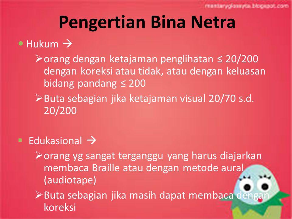 Pengertian Bina Netra Hukum   orang dengan ketajaman penglihatan ≤ 20/200 dengan koreksi atau tidak, atau dengan keluasan bidang pandang ≤ 200  But