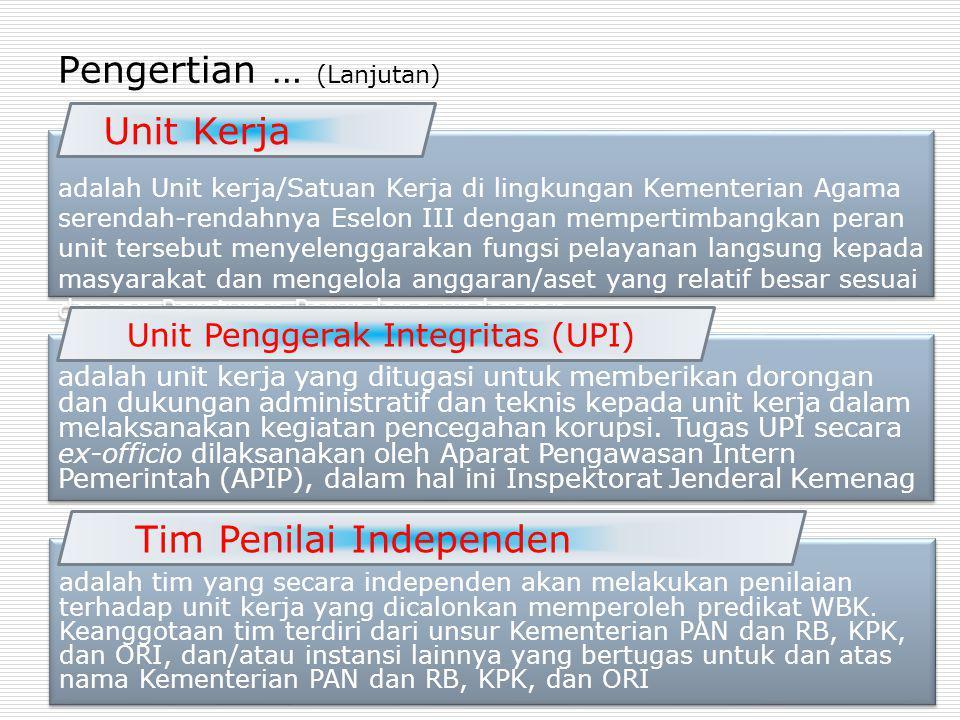 adalah Unit kerja/Satuan Kerja di lingkungan Kementerian Agama serendah-rendahnya Eselon III dengan mempertimbangkan peran unit tersebut menyelenggara
