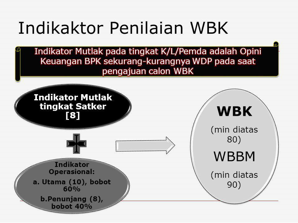 Indikaktor Penilaian WBK Indikator Mutlak tingkat Satker [8] Indikator Operasional: a. Utama (10), bobot 60% b.Penunjang (8), bobot 40% WBK (min diata