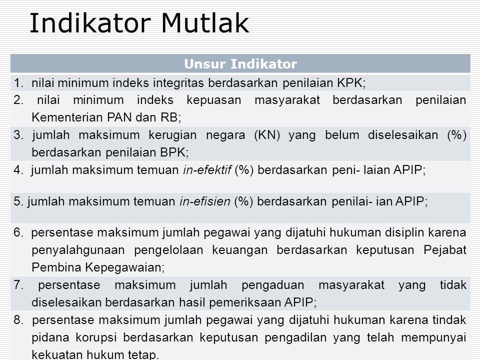 Indikator Mutlak Unsur Indikator 1.nilai minimum indeks integritas berdasarkan penilaian KPK; 2. nilai minimum indeks kepuasan masyarakat berdasarkan