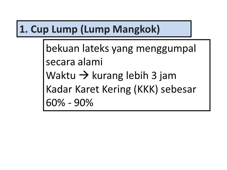 1. Cup Lump (Lump Mangkok) bekuan lateks yang menggumpal secara alami Waktu  kurang lebih 3 jam Kadar Karet Kering (KKK) sebesar 60% - 90%