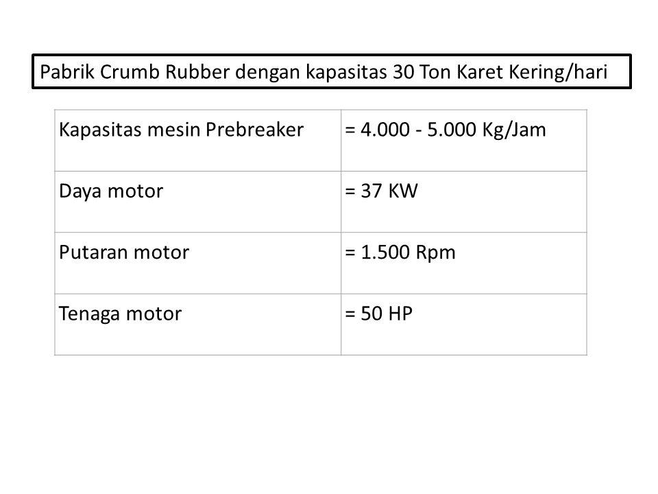 Kapasitas mesin Prebreaker= 4.000 - 5.000 Kg/Jam Daya motor= 37 KW Putaran motor= 1.500 Rpm Tenaga motor= 50 HP Pabrik Crumb Rubber dengan kapasitas 30 Ton Karet Kering/hari