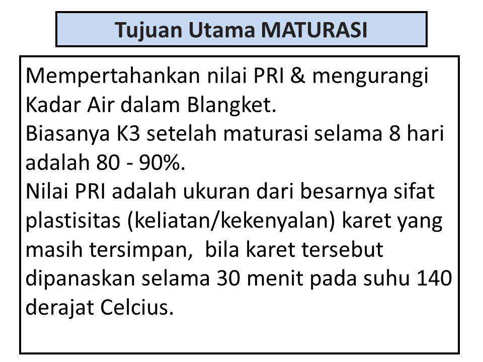 Tujuan Utama MATURASI Mempertahankan nilai PRI & mengurangi Kadar Air dalam Blangket. Biasanya K3 setelah maturasi selama 8 hari adalah 80 - 90%. Nila