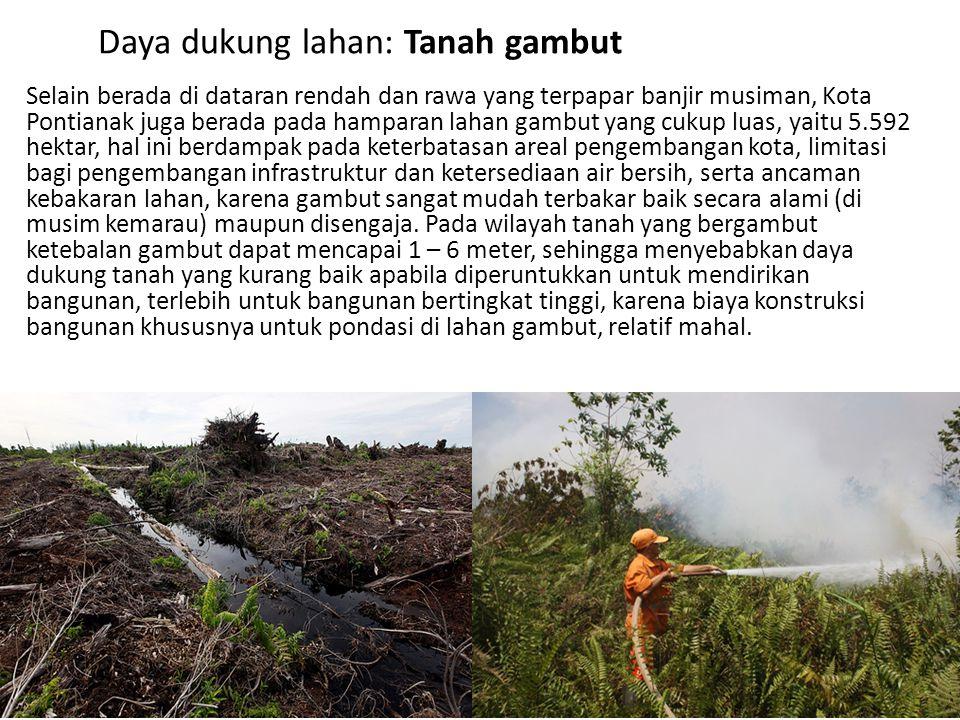 Daya dukung lahan: Tanah gambut Selain berada di dataran rendah dan rawa yang terpapar banjir musiman, Kota Pontianak juga berada pada hamparan lahan