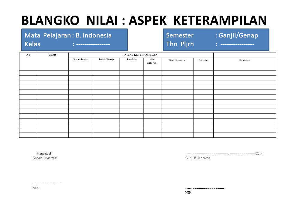 BLANGKO NILAI : ASPEK KETERAMPILAN Mata Pelajaran : B. Indonesia Kelas : ---------------- Semester : Ganjil/Genap Thn Pljrn : ---------------- Mengeta