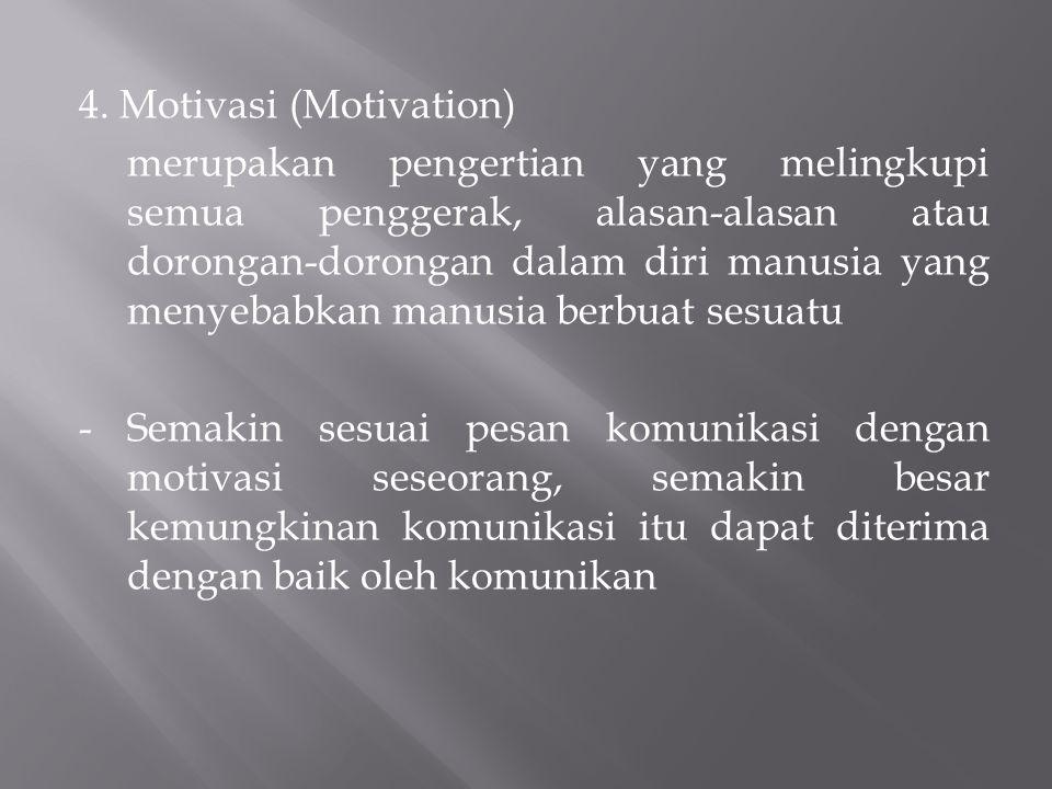 4. Motivasi (Motivation) merupakan pengertian yang melingkupi semua penggerak, alasan-alasan atau dorongan-dorongan dalam diri manusia yang menyebabka