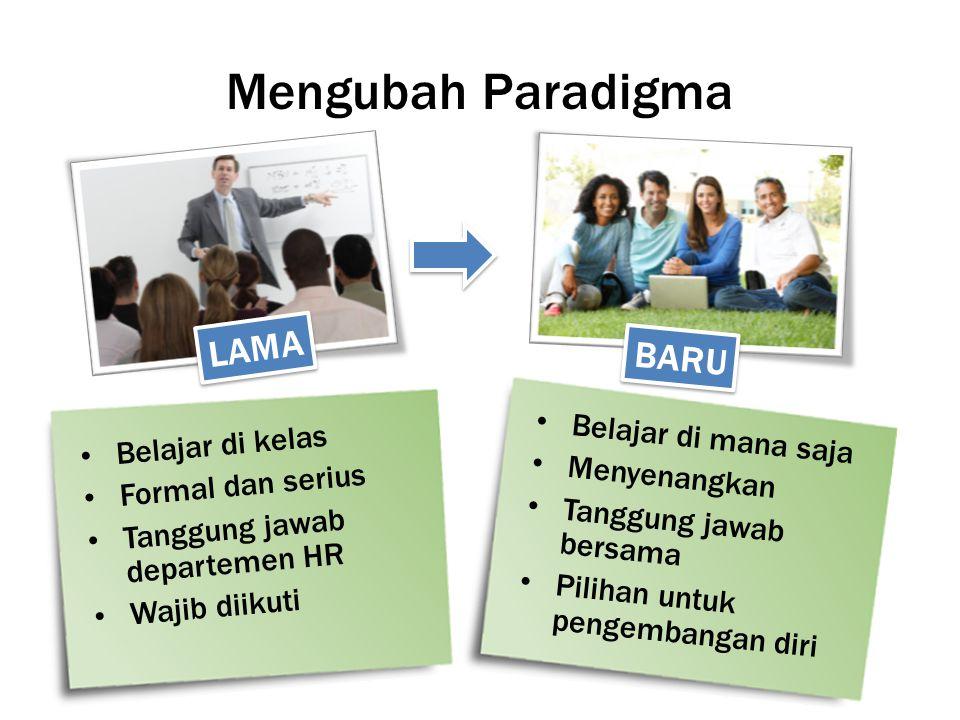 Mengubah Paradigma Belajar di kelas Formal dan serius Tanggung jawab departemen HR Wajib diikuti Belajar di mana saja Menyenangkan Tanggung jawab bers