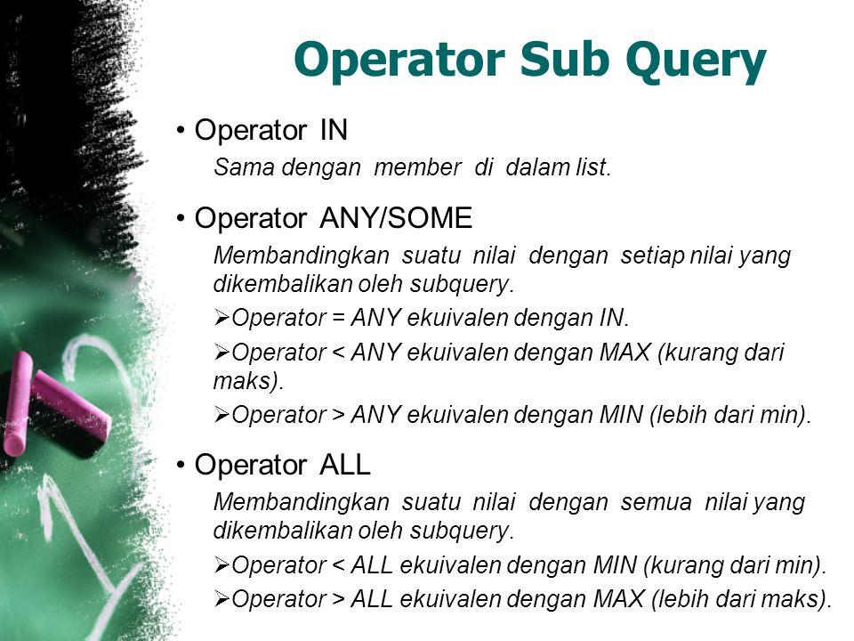 Operator Sub Query Operator IN Sama dengan member di dalam list.