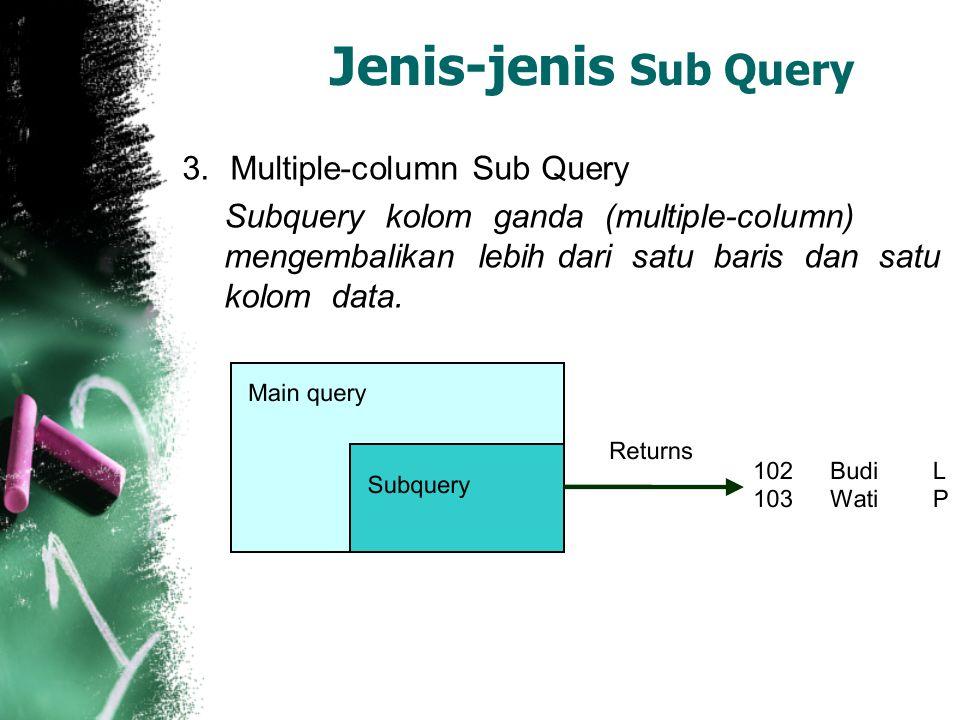 Jenis-jenis Sub Query 3.Multiple-column Sub Query Subquery kolom ganda (multiple-column) mengembalikan lebih dari satu baris dan satu kolom data.