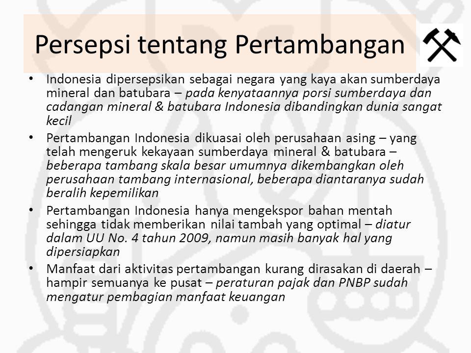Persepsi tentang Pertambangan Indonesia dipersepsikan sebagai negara yang kaya akan sumberdaya mineral dan batubara – pada kenyataannya porsi sumberda