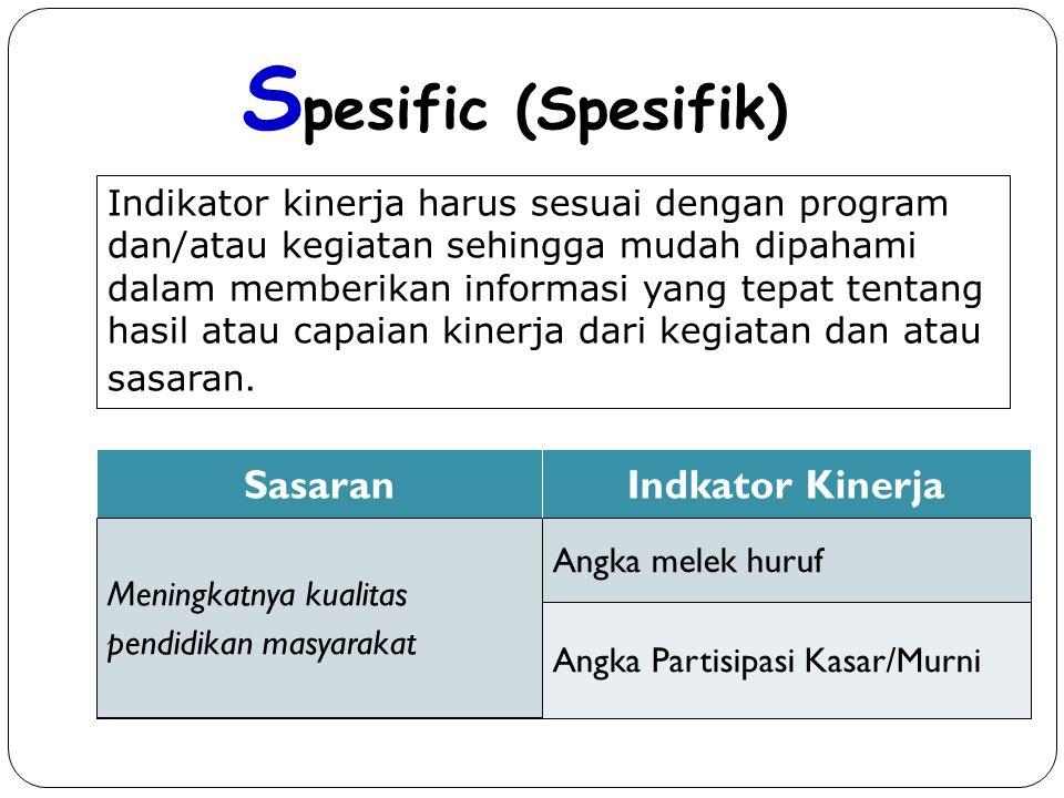 Kriteria Indikator Kinerja yang baik ( S M A R T ) S pesific (Spesifik) M easurable (Dapat diukur) A ttainable (Dapat dicapai) R elevan (Sesuai dengan