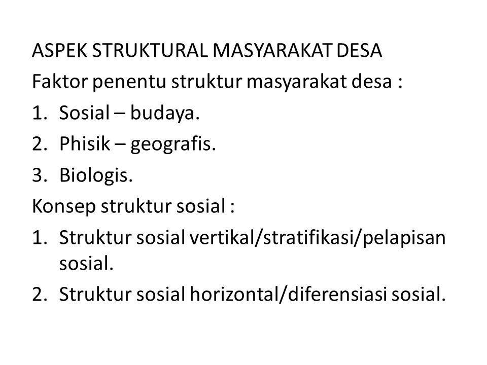ASPEK STRUKTURAL MASYARAKAT DESA Faktor penentu struktur masyarakat desa : 1.Sosial – budaya. 2.Phisik – geografis. 3.Biologis. Konsep struktur sosial
