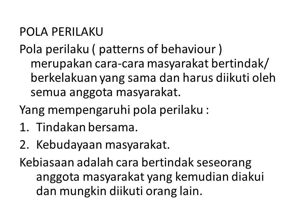 POLA PERILAKU Pola perilaku ( patterns of behaviour ) merupakan cara-cara masyarakat bertindak/ berkelakuan yang sama dan harus diikuti oleh semua ang