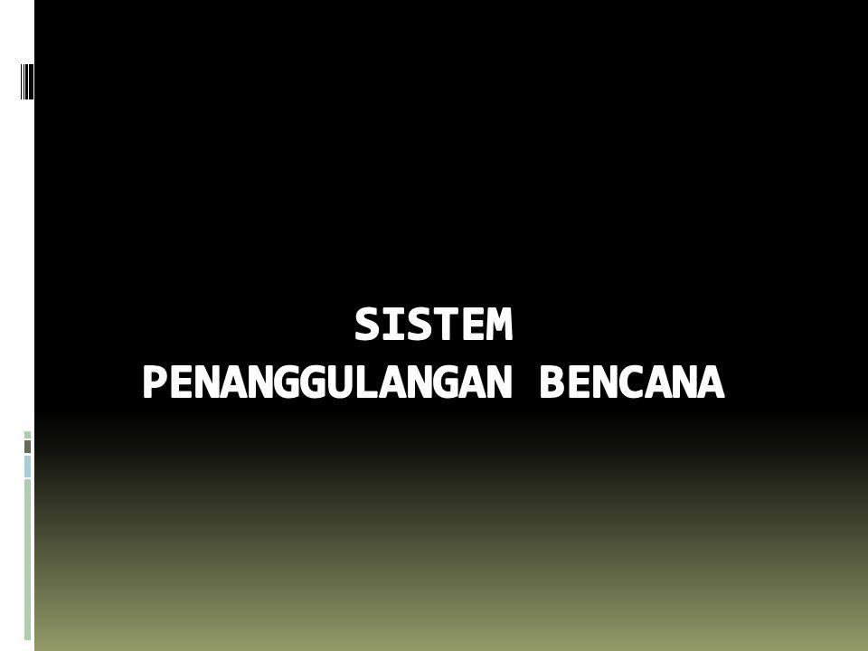  Perencanaan Penanggulangan Bencana  Rencana Penanggulangan Bencana (Disaster Management Plan) o Tingkat Nasional  RENCANA NASIONAL PENANGGULANGAN BENCANA 2010-2014 o Tingkat Provinsi/Kab./Kota  RENCANA PENANGGULANGAN BENCANA  Rencana Tiap Jenis Bencana o Rencana Mitigasi (Mitigation Plan) o Rencana Kontinjensi (Contingency Plan) o Rencana Operasi (Operation Plan) o Rencana Pemulihan (Recovery Plan)  Pemaduan PB dalam Perencanaan Pembangunan (Nasional / Daerah)  Penanggulangan Bencana dalam RPJP (N/D), RPJM (N/D) dan RKP (N/D)