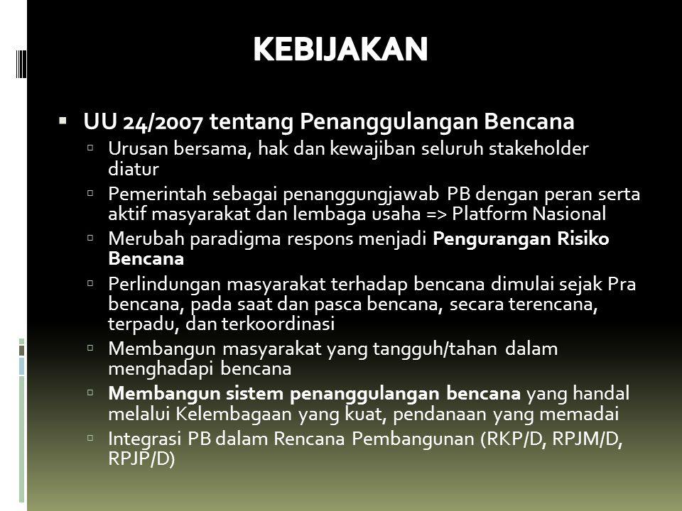 ARAHAN PRESIDEN RI tentang Penanggulangan Bencana Disampaikan pada tanggal 14 September Tahun 2007 di Kab Pesisir Selatan, Sumbar pada saat gempa bumi Bengkulu dan Sumatera Barat (7,9 SR, 12 Sept 2007) 1.Pemda Kabupaten/Kota menjadi penanggung jawab utama penyelenggaraan penanggulangan bencana di wilayahnya.