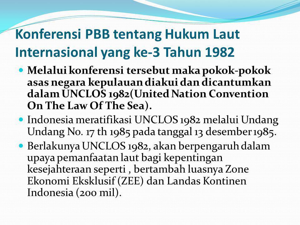 Konferensi PBB tentang Hukum Laut Internasional yang ke-3 Tahun 1982 Melalui konferensi tersebut maka pokok-pokok asas negara kepulauan diakui dan dicantumkan dalam UNCLOS 1982(United Nation Convention On The Law Of The Sea).