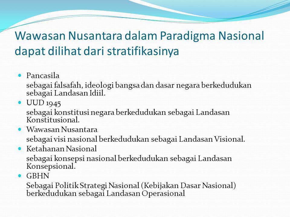 Wawasan Nusantara dalam Paradigma Nasional dapat dilihat dari stratifikasinya Pancasila sebagai falsafah, ideologi bangsa dan dasar negara berkedudukan sebagai Landasan Idiil.