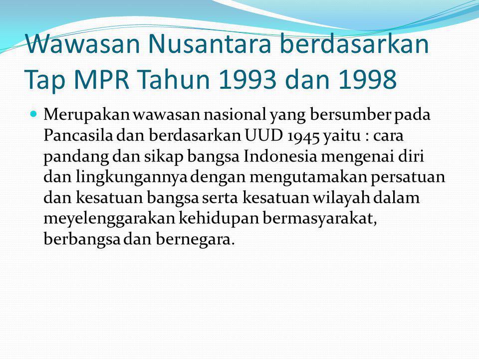 BERDASARKAN LEMHANNAS Cara pandang dan sikap bangsa Indonesia mengenai diri dan lingkungannya yang serba beragam dan bernilai strategis dengan mengutamakan persatuan dan kesatuan bangsa serta kesatuan wilayah dalam meyelenggarakan kehidupan bermasyarakat, berbangsa dan bernegara untuk mencapai tujuan nasional.