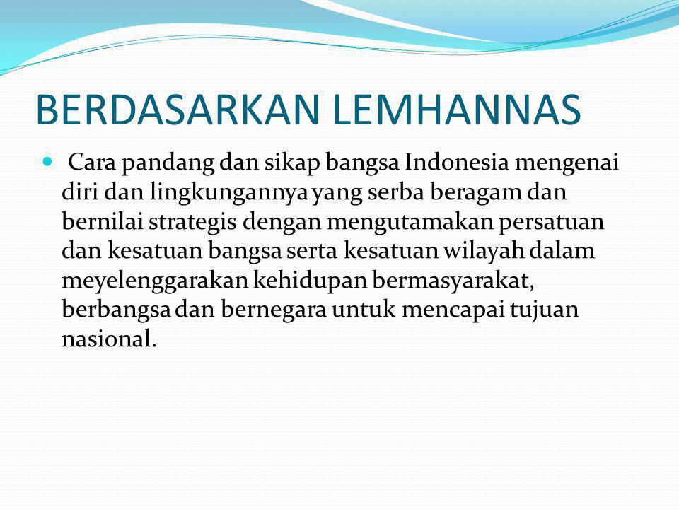 Dasar pemikiran wawasan nusantara Berdasarkan falsafah Pancasila, manusia Indonesia adalah : Makhluk ciptaan Tuhan yang mempunyai naluri, akhlak dan daya pikir dan sadar akan keberadaannya yang serba terhubung dengan sesamanya, lingkungan alamnya dan dengan Penciptanya.