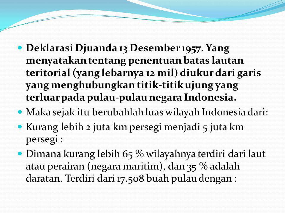 5 (lima) buah pulau besar : Sumatera, Jawa, Kalimantan, Sulawesi dan Irian Jaya dan 11.808 pulau- pulau kecil yang belum diberi nama.
