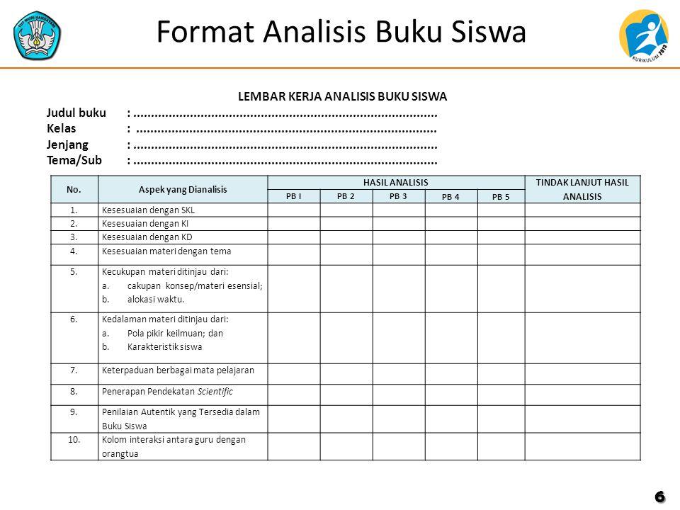 7 Langkah-langkah dan Rubrik Penilaian Cermati format penilaian analisis buku guru atau buku siswa serta hasil analisis peserta yang akan dinilai Berikan nilai pada setiap komponen sesuai dengan penilaian Anda terhadap hasil analisis menggunakan rentang nilai sebagai berikut Terima Kasih PERINGKATNILAIKRITERIA Amat Baik ( A) 90 < A ≤ 100 Hasil analisis tepat, tindak lanjut logis dan bisa dilaksanakan Baik (B)75 < B < 90Hasil analisis tepat, tindak lanjut kurang logis Cukup (C) 60 < C < 75Hasil analisis kurang tepat, tindak lanjut logis Kurang (K)< 60Hasil analisis kurang tepat, tindak lanjut tidak logis