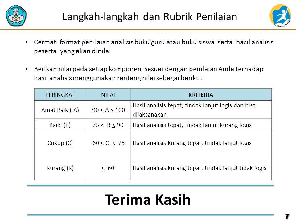 7 Langkah-langkah dan Rubrik Penilaian Cermati format penilaian analisis buku guru atau buku siswa serta hasil analisis peserta yang akan dinilai Beri
