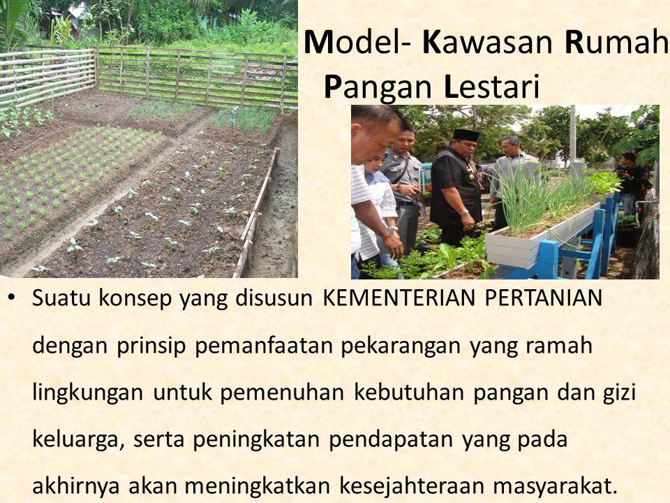 Model- Kawasan Rumah Pangan Lestari Suatu konsep yang disusun KEMENTERIAN PERTANIAN dengan prinsip pemanfaatan pekarangan yang ramah lingkungan untuk