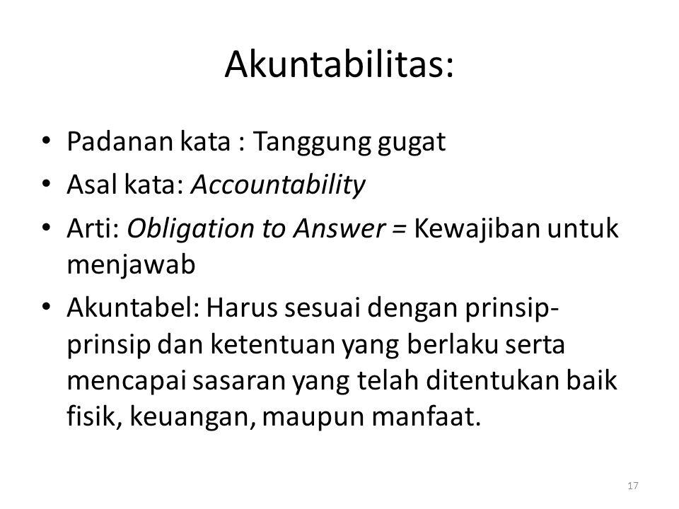 Akuntabilitas: Padanan kata : Tanggung gugat Asal kata: Accountability Arti: Obligation to Answer = Kewajiban untuk menjawab Akuntabel: Harus sesuai d