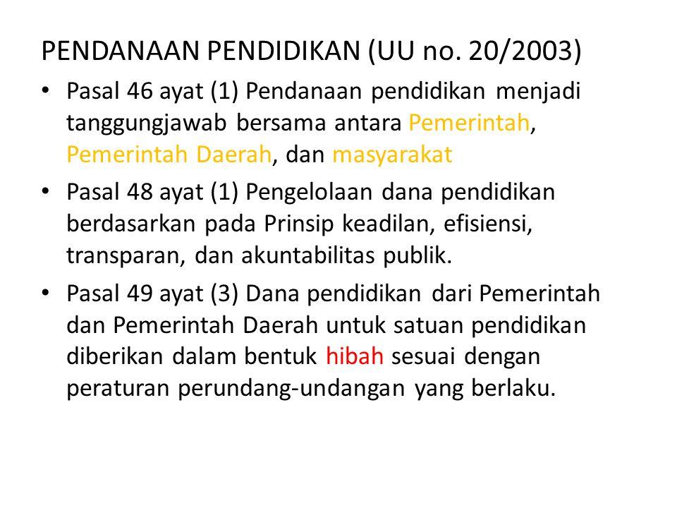 PENDANAAN PENDIDIKAN (UU no. 20/2003) Pasal 46 ayat (1) Pendanaan pendidikan menjadi tanggungjawab bersama antara Pemerintah, Pemerintah Daerah, dan m