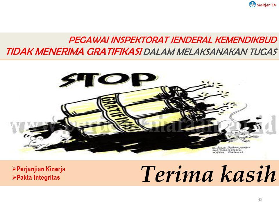 Terima kasih PEGAWAI INSPEKTORAT JENDERAL KEMENDIKBUD TIDAK MENERIMA GRATIFIKASI DALAM MELAKSANAKAN TUGAS  Perjanjian Kinerja  Pakta Integritas Sesitjen'14 43