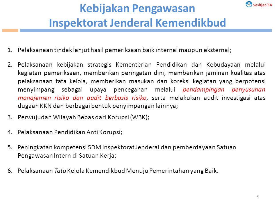 Kebijakan Pengawasan Inspektorat Jenderal Kemendikbud 1.Pelaksanaan tindak lanjut hasil pemeriksaan baik internal maupun eksternal; 2.Pelaksanaan kebi