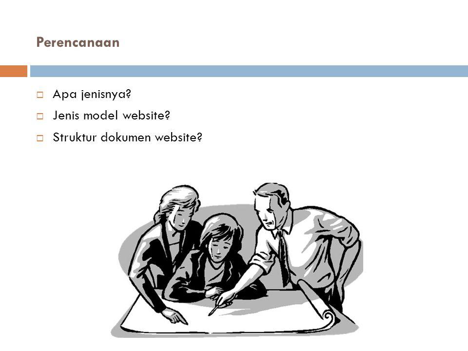Perencanaan  Apa jenisnya?  Jenis model website?  Struktur dokumen website?