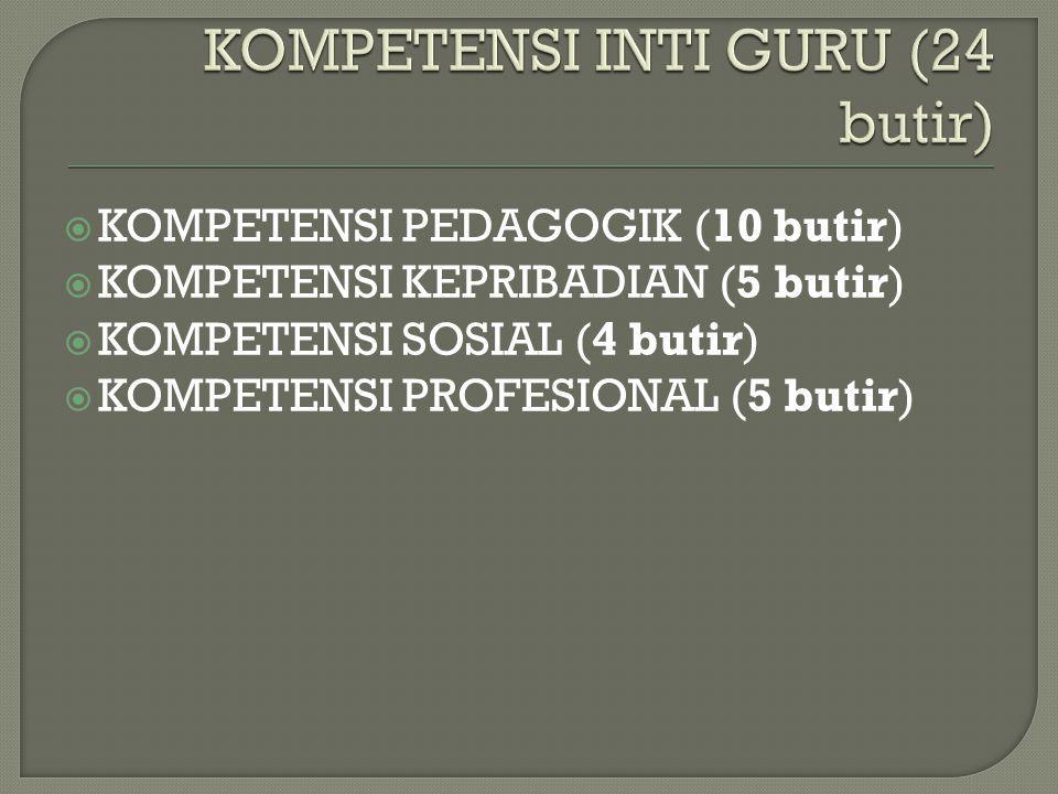  KOMPETENSI PEDAGOGIK (10 butir)  KOMPETENSI KEPRIBADIAN (5 butir)  KOMPETENSI SOSIAL (4 butir)  KOMPETENSI PROFESIONAL (5 butir)