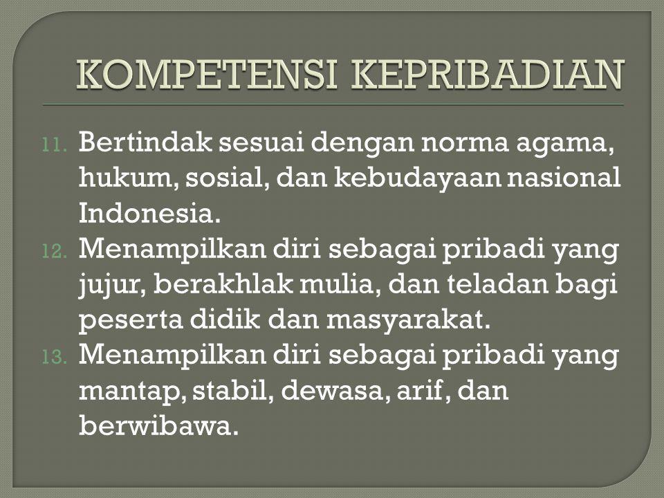 11. Bertindak sesuai dengan norma agama, hukum, sosial, dan kebudayaan nasional Indonesia. 12. Menampilkan diri sebagai pribadi yang jujur, berakhlak