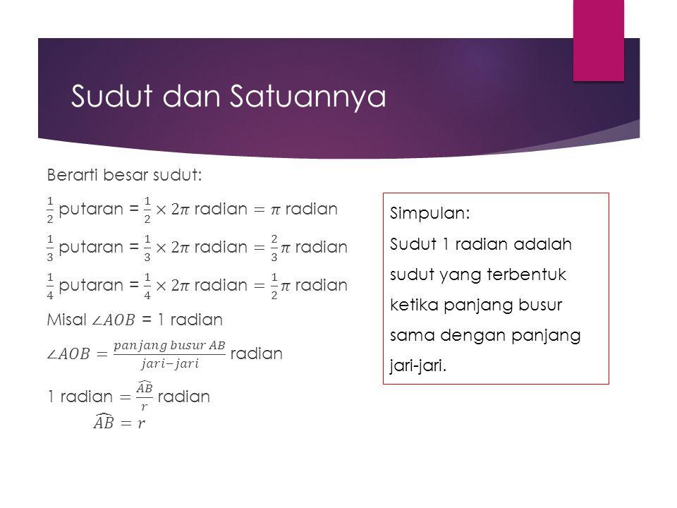 Simpulan: Sudut 1 radian adalah sudut yang terbentuk ketika panjang busur sama dengan panjang jari-jari.