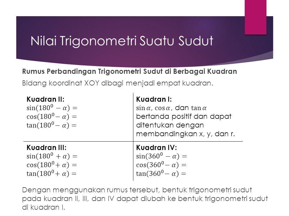 Nilai Trigonometri Suatu Sudut Rumus Perbandingan Trigonometri Sudut di Berbagai Kuadran Bidang koordinat XOY dibagi menjadi empat kuadran. Dengan men