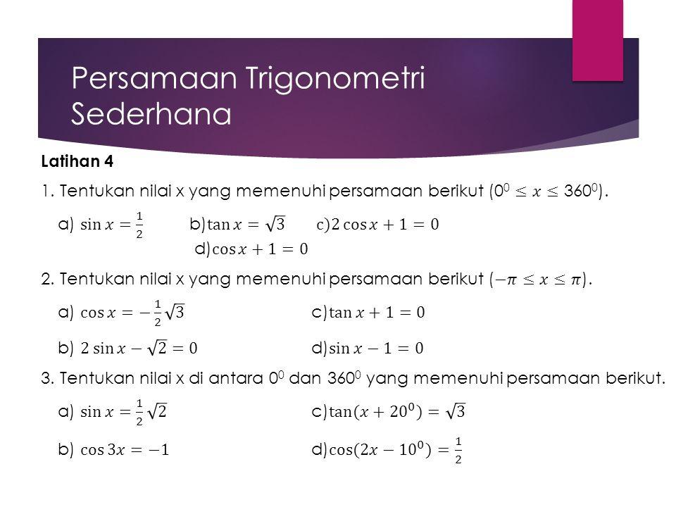 Persamaan Trigonometri Sederhana