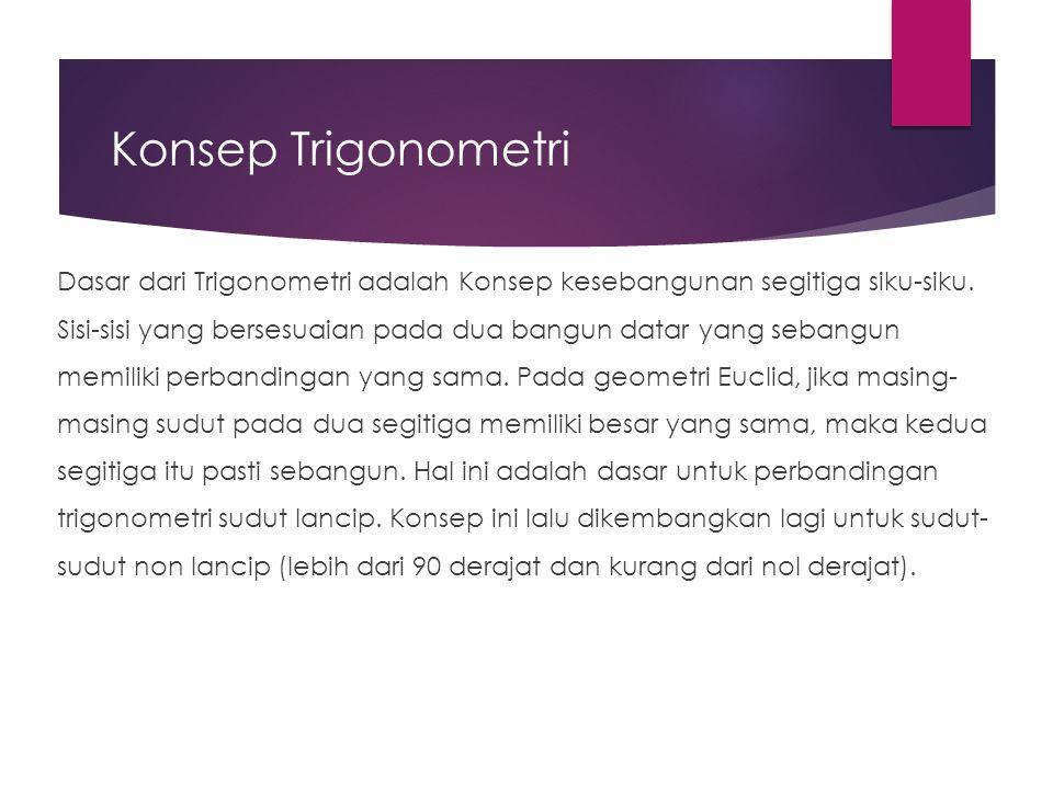 Konsep Trigonometri Dasar dari Trigonometri adalah Konsep kesebangunan segitiga siku-siku. Sisi-sisi yang bersesuaian pada dua bangun datar yang seban