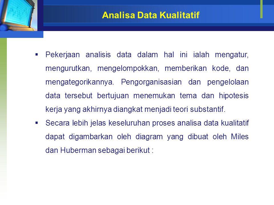 Analisa Data Kualitatif  Pekerjaan analisis data dalam hal ini ialah mengatur, mengurutkan, mengelompokkan, memberikan kode, dan mengategorikannya. P